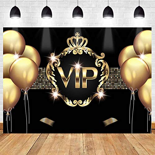 VIP Birthday Party Backdrop for Photography Golden Balloon Black Gold Theme Background Birthday Party Decorations Banners MEETSIOY 7x5ft HXMT191