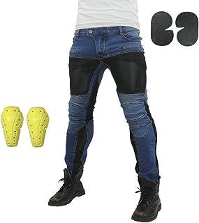 Pantalones Vaqueros Para Montar En Moto Para Hombre, Pantalones De Motocicleta Elásticos Y Transpirables Con 4 Almohadillas Protectoras Desmontables, Pantalones De Motocicleta Anti Caída (Azul,XXXL)