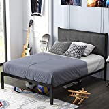 SHA CERLIN Twin Bed Frame, Metal Platform Bed with Upholstered Button Tufted Headboard and 16 Strong Steel Slats, Single Bed for Kids, Underbed Storage, No Box Spring Needed, Easy Assembly, Dark Grey