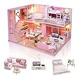 GuDoQi Casa de Muñecas de Madera DIY, Miniatura de la Casa de Muñecas con Muebles y Música, Modelo de Mini Apartamento Hecho a Mano para Adultos, Dream Angels