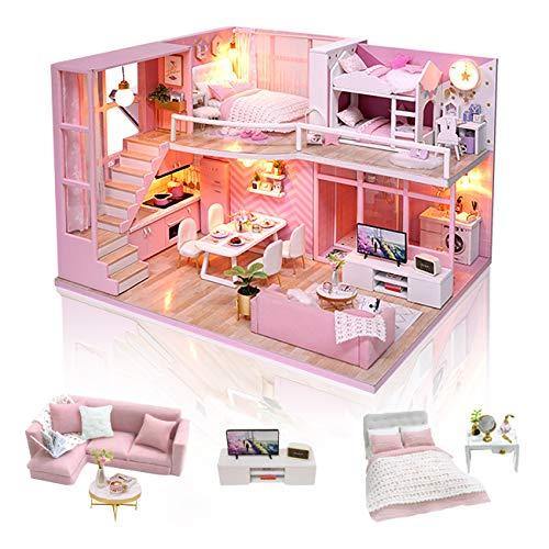 GuDoQi Kit da Casa di Bambole in Legno, Casa delle Bambole in Miniatura Fai da Te con Mobili e Musica, Modello Mini Appartamento Fatto a Mano per Adul