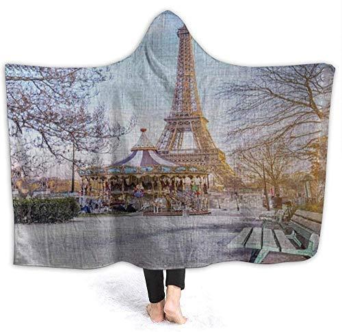 VAADIOSII Plaid/Couverture Confortable, léger et ajusté, Bench Street Street on Paris Winter Vacation Carousel All Season Salon Chambre pour 50\
