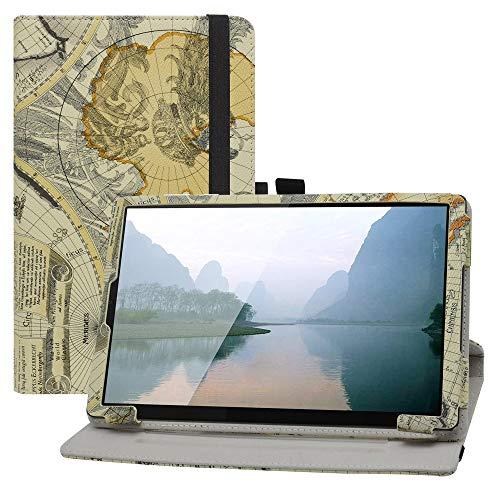 LFDZ Cover Lenovo Tab M10,Slim Girevole Smart 360 Gradi di Rotazione Case Cover Custodia Protettiva per 10.1  Lenovo Tab M10 HD (2nd Gen) TB-X306X Tablet(Not Fit Lenovo Tab M10 Plus),Map White