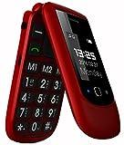 GSM Telefono Cellulare per Anziani,Tasti Grandi,Volume alto,Funzione SOS, Dual SIM,Pantalla 2.4+1.77 Rosso