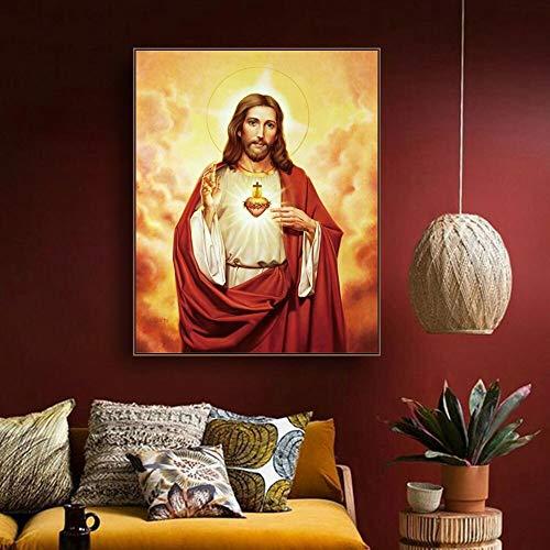 wZUN Murales de Pintura en Lienzo imágenes Carteles de decoración del hogar e Impresiones murales de Dormitorio de la Iglesia católica para Sala de Estar 60x80 Sin Marco