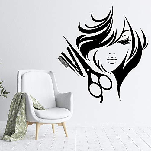 SUPWALS Pegatinas de pared Mujeres Pelo Corto Con Peluqueros Herramientas Pegatina De Pared Calcomanía Peluquería Peinado Corte De Pelo Sala Arte De La Pared Decoración 42X45 Cm