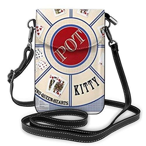 Neues Kartenspiel Stoff Rommé Royal Game Leder Handy Geldbörse Halter Brieftasche Functional Multi Poet für Frauen
