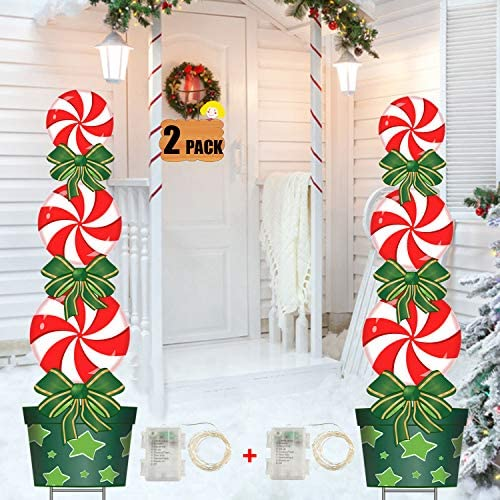 FLY HAWK Christmas Outdoor Decorations 2 Pack 47in Candy Xmas Yard Stakes Signs with String product image
