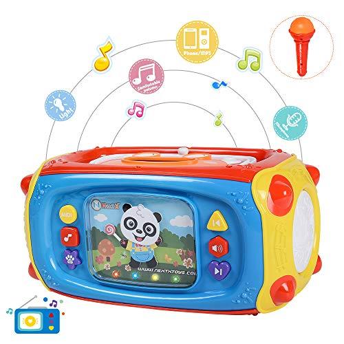 NextX Lettore Musicale per Bambini – Giocattolo Musicale d'Apprendimento Prima Infanzia – Microfono, 41 Canzoni e Luci – Ottimo Regalo di Compleanno o Natale per Bambini