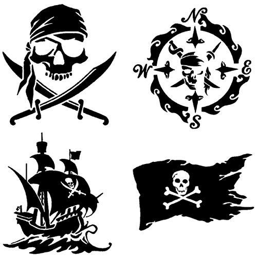 CCDecals Piraten-Aufkleber, 4 Packungen: Totenkopf und Schwerter, Piratenschiff, Piratenflagge, Piratenkompass 3.5