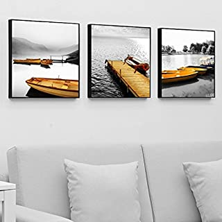 Paintsh Living Room Decoration Painting Sofa Background Wall Meter Box Hanging Painting Triple Beach, 80 * 80Cm, Sailing T...