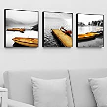Paintsh Living Room Decoration Painting Sofa Background Wall Meter Box Hanging Painting Triple Beach, 40 * 40Cm, Sailing T...