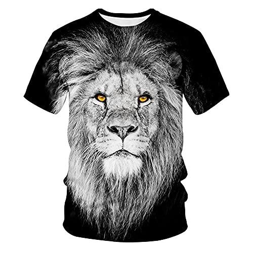 Fashion T-Shirts Men 3D Print Lion T-Shirt Mens Streetwear Fashion Casual Short Sleeve O-Neck T-Shirt-A_S