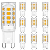 LED G9 Bombillas 2W Equivalente a 15W 20W 25W 28W Halógena Bombillas, Suave Blanco cálido 3000K, 300LM, CRI 85, G9 Enchufe LED Lámpara, sin parpadeo, no regulable, CA 220-240V, paquete de 10