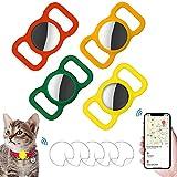 Custodia Protettiva in Silicone per Animali Domestici,Airtags Localizzatore,Airtag GPS Finder Dog Cat Collar Loop,per il Tracciamento del Cane e Del Gatto,4 Pezzi. (Giallo+rosso+verde scuro+arancione)