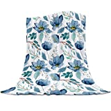 Chic D Flannel Fleece Bed Blankets, Watercolor Floral Blue Soft Throw Blanket for Couch Sofa Bedroom Living Rooms Adults Kids, 40x50 inch Lightweight Cozy Blanket, Tropical Flower Plant