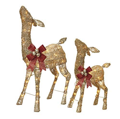 NOMA Pre-Lit Light Up Glitter Deer Set | Christmas Holiday Lawn Decoration | Indoor/Outdoor | 2.8' & 2' Feet Set | 2 Pack