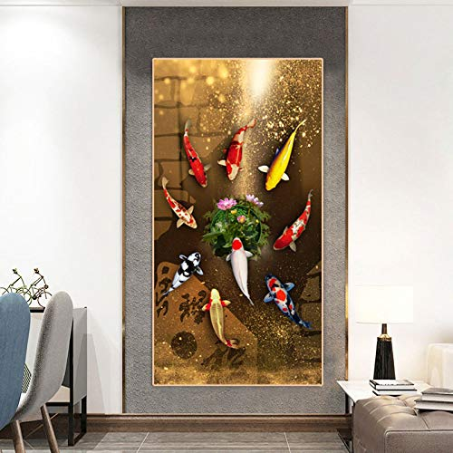 XIANGPEIFBH Chinese Style Red Koi Lucky Carp Canvas Painting Fish Goldfish Poster Entrance Home Decor Picture Annual Ring Wall Art 60x120cm Unframed
