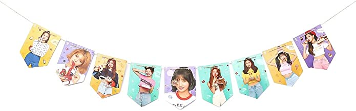 Cianowegy Kpop BTS Wanna ONE Twice GOT7 Blackpink Banner Hanging Flag Poster Hang up Photo with 2 Meter String for Home Decor Party Decoration(Twice)