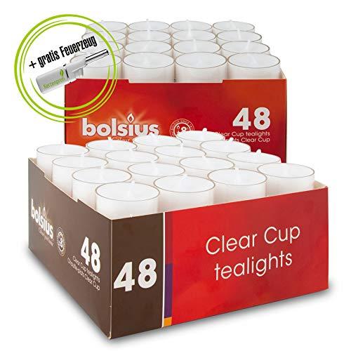 DecoLite: Teelichte mit 8 Stunden Brenndauer im durchsichtigem Becher (Bolsius) & Stabfeuerzeug Kerzenprofi - 2 Packungen Teelichter (96 Stück)