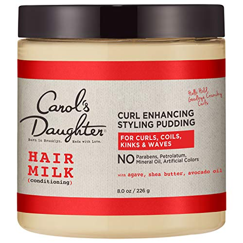 Curly Hair Products by Carol's Daughter, Hair Milk Styling Pudding For Curls, Coils and Waves, with Agave and Avocado Oil, Paraben Free Defining Curl Cream, 8 Ounce (Packaging May Vary)
