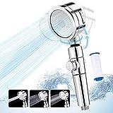 Duschkopf, Handbrause 3 Strahlarten, Wassersparend Hochdruck Brausekopf mit Stopp Taste, 360 ° Drehung Universal Duschbrause Für Badewanne und Dusche
