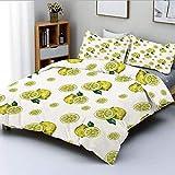 Juego de funda nórdica, figuras de limón con rodajas y hojas, temporada de verano, fruta fresca, acuarela, juego de cama decorativo de 3 piezas con 2 fundas de almohada, amarillo verde cazador, el mej