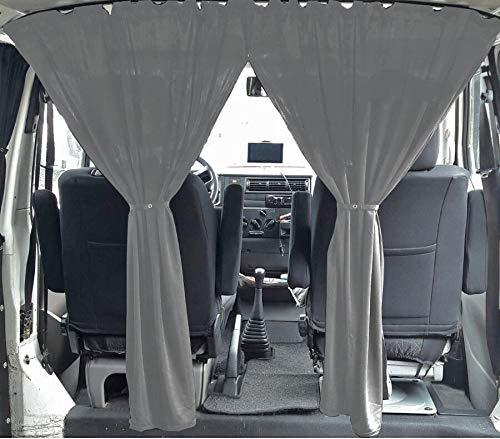 VW T3 T4 Multivan Transporter Caravelle Maß Gardinen Fahrerhaus Abtrennung Farbe: Grau
