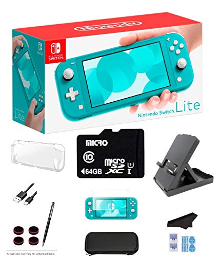 Nintendo Switch Lite - Turquoise Game Console with 64GB SD Card, LCD Touchscreen, Built-in Plus Control Pad, WiFi, Bluetooth and GalliumPi Ultimate 12-in-1 Bundle