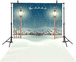 Allenjoy 5x7ft Christmas Watercolor Backdrop Winter Snow Santa Claus Reindeer Glitter Iron Fence Gate Village Night Landscape Photography Background Decoration Photo Studio Props