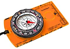 Acrylic Baseplate Compass with Azimuth Bearing and 360 degree rotating bezel. For cartographic map navigation and reading with Field Compass located Magnifying Glass, compass Ruler and 1:24000 compass Scale. Durable and Lightweight Compass for Hiking...