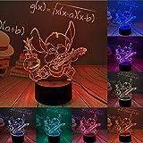 Stitch LED Night Light, 16 Couleurs 3D Visual Lámpara de escritorio Decoración, Lilo & StitchTouch Lámpara de noche para niños remota con alimentación USB