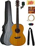 Yamaha CSF3M All-Solid Parlor Acoustic-Electric Guitar - Vintage Natural Bundle with Gig Bag, Tuner, Strings, Strap, Picks, Austin Bazaar Instructional DVD, and Polishing Cloth