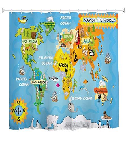 A.Monamour Duschvorhang Cartoon Tier Weltkarte Für Kinder Geographie Bildung Abstrakte Kunst Dekor Wasserdichtes Gewebe Bad Vorhang Polyester Duschvorhang Mit Haken Ringe 180X200 cm / 72