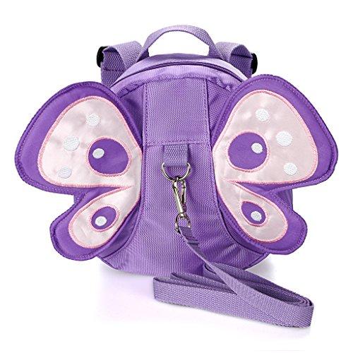 Btsky - Zaino da passeggio - motivo ali di farfalla - per bambini, con imbracatura di sicurezza