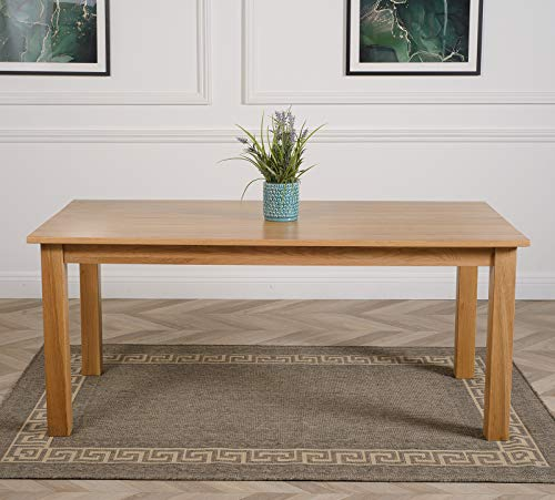 Oslo 6ft Table Solid Oak Dining Table Only | 180cm x 90cm Farmhouse Dining Table 6 Seater by Oak Furniture King