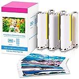 Papel fotográfico KP-108IN Compatible con Canon Selphy CP1300 CP1200 CP1000 CP910 CP810 C800 CP740, 108 hojas de papel fotográfico (100 x 148 mm) + 3 cartuchos de color