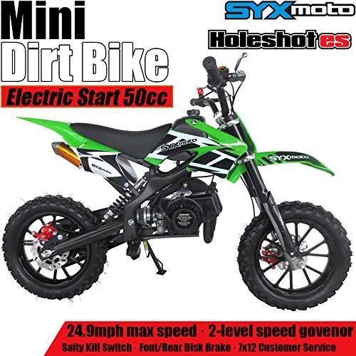SYX MOTO Kids Dirt Bike Holeshot Electric Start 50cc Gas Power Mini Dirt Bike (Green)