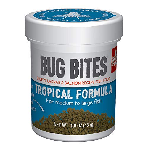Fluval Bug Bites Tropical Fish Food, Large Granules for Medium to Large Sized Fish, 1.59 oz., A6578