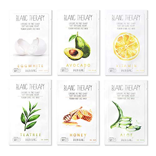 Ballon Blanc Therapy Face Facial Masks Sheet Infused With Aloe,TeaTree, Avocado,Vitamin,Honey &...