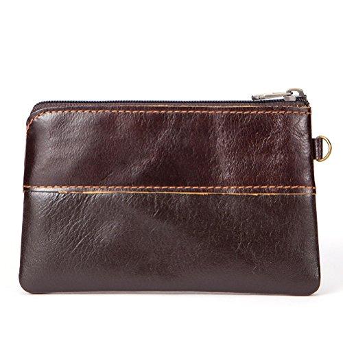 Men's Coin Purse Fmeida Leather Slim Wallet Zipper Change Purse Coffee Money Pouch