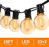 Svater Globe String Lights Outdoor,25FT Led Patio Lights with 23pcs E12 Socket,...