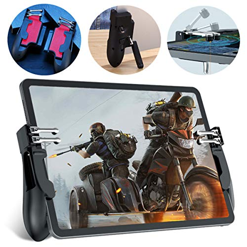 PUBG Mobile Controller for Tablet - Aovon 4 Triggers [6 Finger Operation] Sensitive L1R1 L2R2 Shoot Aim Trigger Gamepad Grip, Support 5.5-12.9 inch iPad & Tablet (Red)
