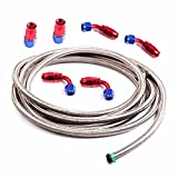 6AN 12 Ft Universal Premium Braided Stainless Steel 3/8 Fuel Line Filler Feed Hose W + 6pcs AN6 Hose End Fitting Adapters Set