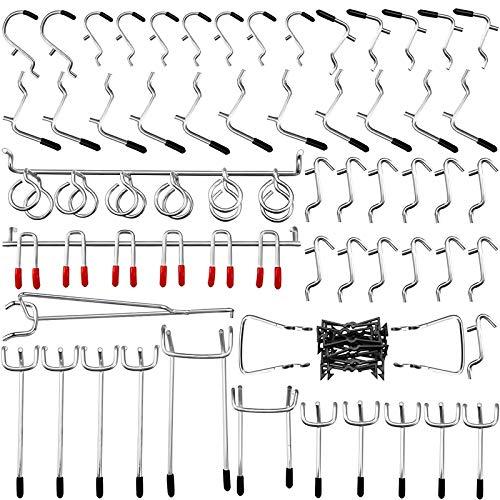 Casinlog Assortment Board Hooks 54 Piece Set of Accessories Rack Hook Organizer with 20 Piece Pin Locks