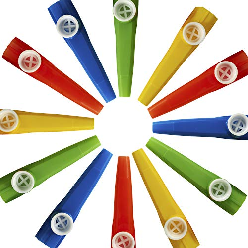 Kicko Plastic Kazoo - 12 Pack Assorted Colors - for Stage Props, Classroom...