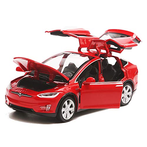 Pywee Automodell Spielzeugauto Tesla Model X 90 1:32 Fahrzeug Legierung zurückziehen mit Sound & Light für Kinder Geschenk