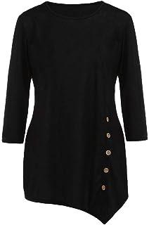 TOPME Women's Long Sleeve T Shirt Blouse Loose Button Trim Round Neck Tunic Top Blue Black Gray