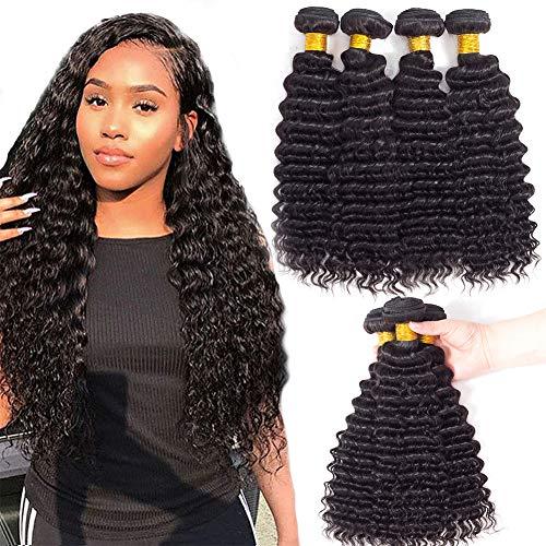 Indian Deep Wave Human Hair Bundles 22 20 18 16, 10A Deep Wave Bundles Brazilian Virgin Hair Loose Deep Wave Bundles Weave Remy Virgin Unprocessed Hair (16 18 20 22)