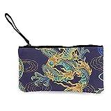 Monedero de lona para mujer y niña, bolsa de maquillaje, diseño de dragón chino